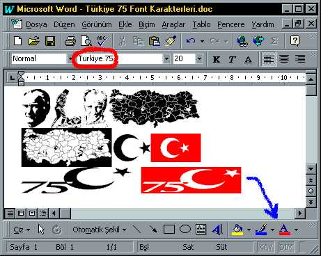 Turkiye 75 ölçeklenebilir yazıtipi
